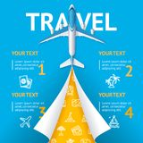 Realistic 3d Detailed Travel and Tourism Concept with Airplane. Vector. Realistic 3d Detailed Travel and Tourism Concept with Airplane on a Blue Background Place Stock Photography