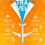 Realistic 3d Detailed Travel and Tourism Concept with Airplane. Vector. Realistic 3d Detailed Travel and Tourism Concept with Airplane on a Orange Background for Stock Photo