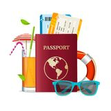 Realistic 3d Detailed Travel Concept. Vector. Realistic 3d Detailed Travel and Tourism Concept with Passport and Tickets Include of Refreshing Cocktail, Straws Stock Image