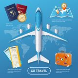 Realistic 3d Detailed Travel and Tourism Concept. Vector. Realistic 3d Detailed Travel and Tourism Concept with Plane over Map Include of Passport, Globe, Ticket Royalty Free Stock Photography