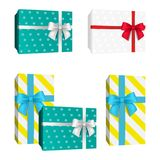 Realistic 3D dotted pattern gift box with red and white and blue ribbon bows. Vector presents. Realistic 3D dotted pattern gift box with red and white and blue Stock Image