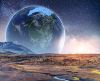 Realistic 3D Earth Lyustration. Courtesy of NASA. Fantastic star Stock Image