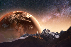 Realistic 3D Earth Lyustration. Courtesy of NASA. Fantastic star Royalty Free Stock Images