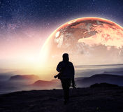 Realistic 3D Earth Lyustration. Courtesy of NASA. Man in Space. Stock Images