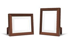 Realistic 3D empty frames of wenge wood. Vector design element. Royalty Free Stock Image