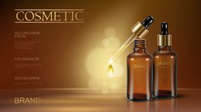 Realistic 3d essence bottle cosmetic ad. Oil droplet falling pipette. Treatment collagen vitamin serum. Brown Royalty Free Stock Photography
