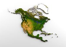 Realistic 3D Extruded Map of North America & x28;North American Continent,including Central America& x29;, with Relief. 3D rendering of extruded high-resolution vector illustration