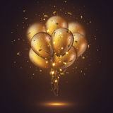 Realistic 3D glossy golden ballons. Realistic 3D glossy golden ballons with confetti and glowing lights. Decorative element for party invitation design, blur Stock Photography