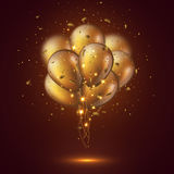 Realistic 3D glossy golden balloons. Realistic 3D glossy golden balloons with confetti and glowing lights. Decorative element for party invitation design, blur Royalty Free Stock Photo