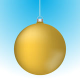 Realistic 3D gold christmas ball decoration hanging. On white chain. Rounded yellow ball decoration with reflections on blue to white gradient backdrop Stock Photos