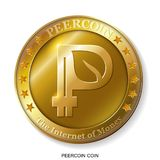 Realistic 3d golden Peercoin. Stock Photography
