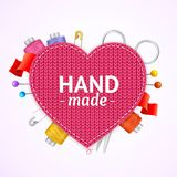 Realistic 3d Hand Made Knitted Concept. Vector. Realistic 3d Hand Made Knitted Concept Handcraft Hobby Label Heart Shape Symbol of Romance. Vector illustration Royalty Free Stock Photos