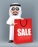 Realistic 3D Handsome Saudi Arab Man Character. Wearing Traditional Clothes Holding Big Shopping Bag with Sale Text Written. Editable Vector Illustration Stock Photos