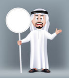 Realistic 3D Handsome Saudi Arab Man Character. Wearing Traditional Clothes Holding Blank White Sign Board with Text Space. Editable Vector Illustration Stock Photo