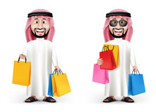 Realistic 3D Handsome Saudi Arab Man Character. Wearing Traditional Clothes Holding Shopping Bags in WHite Background. Two Editable Vector Illustration Stock Photography