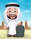 Realistic 3D Handsome Saudi Arab Man Wearing Thobe Royalty Free Stock Photography