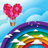 Realistic 3d Heart Bunch of  Hot Air Balloons fly to sky. Blue sky with origami clouds and rainbow, birds. Vector applique illustrations Royalty Free Stock Image