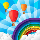 Realistic 3d Heart Bunch of  Hot Air Balloons fly to sky. Stock Images