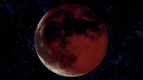 Realistic full lunar eclipse. Blood moon 3D illustration royalty free illustration