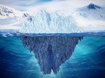 Realistic 3D illustration of an iceberg. 3D illustration.  Royalty Free Stock Photos