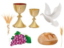 Isolated christian symbols: golden chalice with wine, dove, grapes, bread, ear of wheat. 3D realistic illustration. Realistic 3D illustration. Isolated Christian Royalty Free Stock Photos
