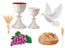 Isolated christian symbols: white chalice with wine, dove, grapes, bread, ears of wheat. 3D realistic illustration. Realistic 3D illustration. Isolated Christian Royalty Free Stock Images