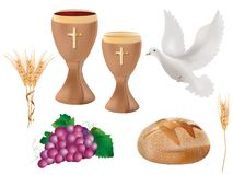 Isolated christian symbols: wood chalice with wine, dove, grapes, bread, ears of wheat. 3D realistic illustration. Realistic 3D illustration. Isolated Christian Stock Photos