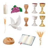 Set Isolated christian symbols - chalice, grapes, bread, bible, dove, candle, ears of wheat. Realistic 3D illustration. Isolated Christian symbols with wooden Stock Photo