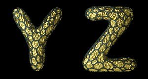Realistic 3D letter set Y, Z made of gold shining metal . royalty free stock image