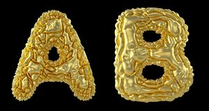 Realistic 3D letters set A, B made of crumpled foil. Collection symbols of crumpled gold foil isolated on black. Background. 3d rendering royalty free illustration