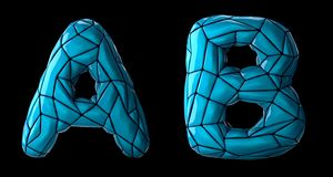 Realistic 3D letters set A, B made of low poly style. Collection symbols of low poly style blue color plastic isolated. On black background 3d rendering stock illustration
