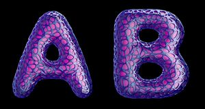 Realistic 3D letters set A, B made of purple plastic. vector illustration