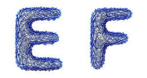 Realistic 3D letters set E, F made of blue plastic. vector illustration