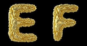 Realistic 3D letters set E, F made of crumpled foil. Collection symbols of crumpled gold foil isolated on black. Background. 3d rendering vector illustration