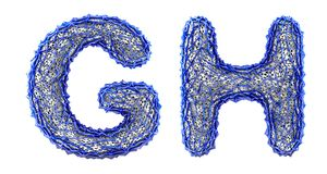 Realistic 3D letters set G, H made of blue plastic. stock illustration