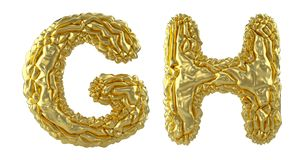 Realistic 3D letters set G, H made of crumpled foil. Collection symbols of crumpled gold foil isolated on white. Background. 3d rendering stock illustration