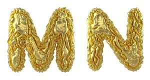 Realistic 3D letters set M, N made of crumpled foil. Collection symbols of crumpled gold foil isolated on white. Background. 3d rendering vector illustration