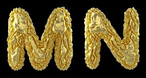 Realistic 3D letters set M, N made of crumpled foil. Collection symbols of crumpled gold foil isolated on black. Background. 3d rendering stock illustration