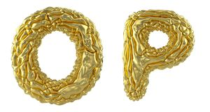 Realistic 3D letters set O, P made of crumpled foil. Collection symbols of crumpled gold foil isolated on white. Background. 3d rendering royalty free illustration