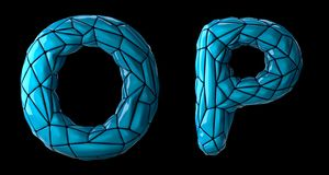 Realistic 3D letters set O, P made of low poly style. Collection symbols of low poly style blue color plastic isolated. On black background 3d rendering royalty free illustration