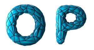 Realistic 3D letters set O, P made of low poly style. Collection symbols of low poly style blue color plastic isolated stock illustration