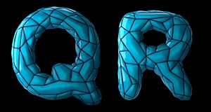 Realistic 3D letters set Q, R made of low poly style. Collection symbols of low poly style blue color plastic isolated. On black background 3d rendering vector illustration