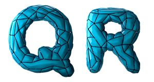 Realistic 3D letters set Q, R made of low poly style. Collection symbols of low poly style blue color plastic isolated. On white background 3d rendering royalty free illustration
