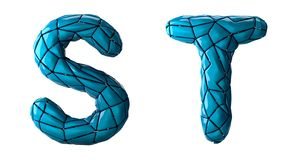 Realistic 3D letters set S, T made of low poly style. Collection symbols of low poly style blue color plastic isolated. On white background 3d rendering vector illustration