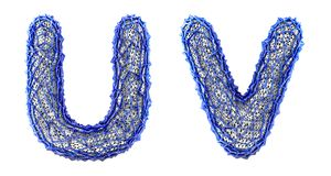 Realistic 3D letters set U, V made of blue plastic. royalty free illustration