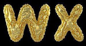 Realistic 3D letters set W, X made of crumpled foil. Collection symbols of crumpled gold foil isolated on black. Background. 3d rendering royalty free illustration
