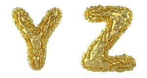 Realistic 3D letters set Y, Z made of crumpled foil. Collection symbols of crumpled gold foil isolated on white. Background. 3d rendering royalty free illustration