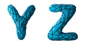 Realistic 3D letters set Y, Z made of low poly style. Collection symbols of low poly style blue color plastic isolated stock illustration