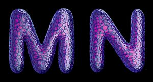 Realistic 3D letters set Y, Z made of purple plastic. stock illustration