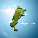 Realistic 3D Map of Argentina Stock Photos